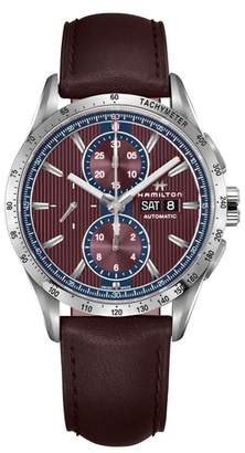 Hamilton Broadway Automatic Chronograph Leather Strap Watch, 43mm