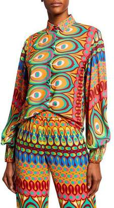 Alexis Kaito Printed Button-Front Long-Sleeve Top