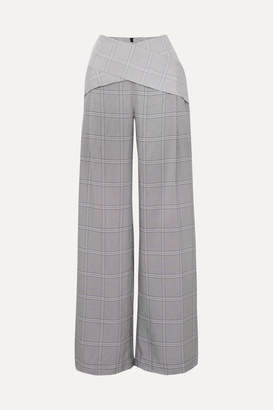 Dion Lee Checked Wide-leg Crepe Pants - Gray
