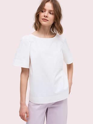 Kate Spade Short Sleeve Twill Blouse, Fresh White - Size L