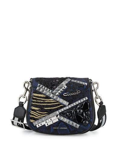Marc Jacobs Marc Jacobs Nomad Small Snake-Embossed Saddle Bag
