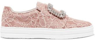 Roger Vivier Sneaky Viv Crystal-embellished Lace Slip-on Sneakers - Antique rose