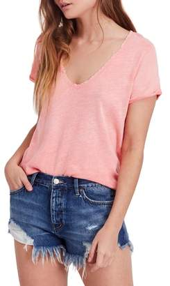 Free People Saturday Lace Trim Linen Blend Tee