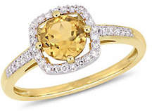 HBC CONCERTO 10K Yellow Gold and Citrine Halo Birthstone Ring with 0.14 TCW Diamond