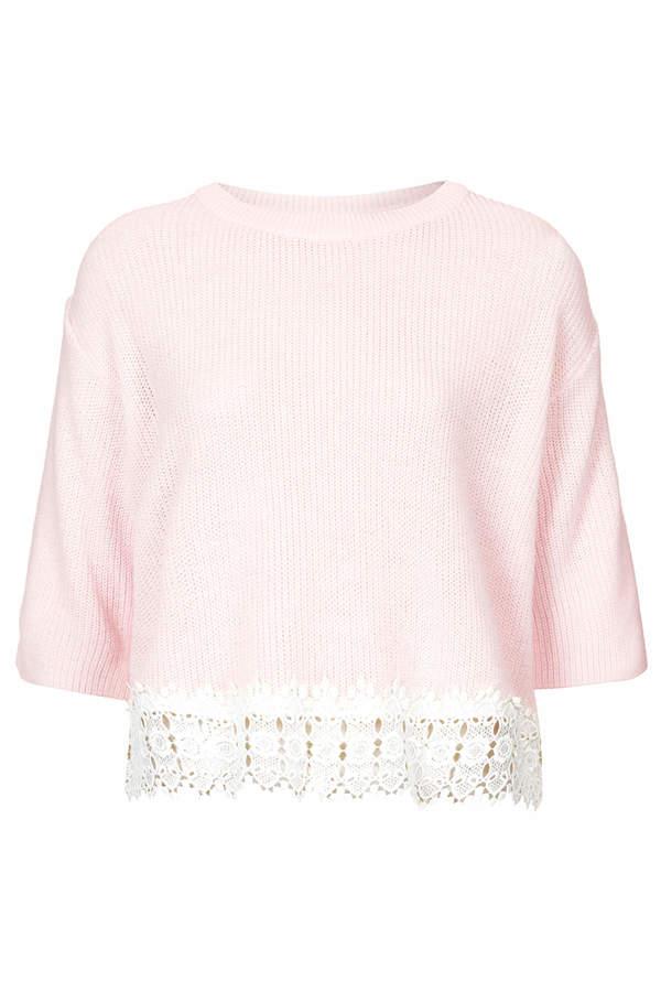 Topshop Lace hem crop top