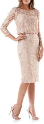 JS Collections 3/4-Sleeve Soutache Illusion Dress