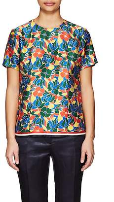 Thom Browne WOMEN'S FLORAL SILK TWILL BLOUSE