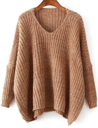 Romwe Plunge Neck Batwing Sleeve Dip Hem Oversized Sweater