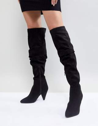 Miss Selfridge Over The Knee Ruched Boot