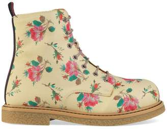 Gucci Children's rose Supreme lace-up boot