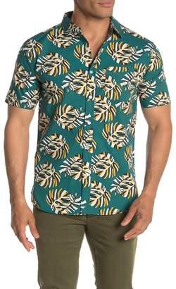 LOFT 604 Short Sleeve Palm Leaf Print Hawaiian Shirt