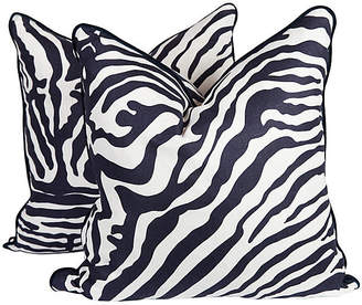 One Kings Lane Vintage Navy & Ivory Linen Zebra Pillows - Set of 2 - Ivy and Vine