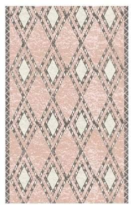 Pottery Barn Teen Shaggy Diamond Dot Rug, 5'x8', Steel/Blush