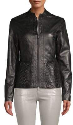 T Tahari Grace Leather Cutout Jacket