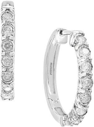 Effy 925 Sterling Silver 0.49 CT. T.W. Diamond Hoop Earrings