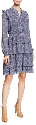 MICHAEL Michael Kors Micro Floral Mix-Print Long-Sleeve Tiered Dress w/ Ruffle Trim