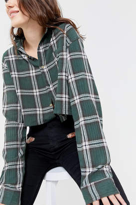 Urban Renewal Vintage Recycled Ruffle Collar Flannel Button-Down Shirt