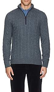 Loro Piana Men's Cable-Knit Cashmere Half-Zip Sweater - Blue