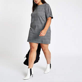 River Island Plus grey check ponte swing dress