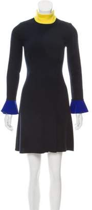 Roksanda Mock Neck Long Sleeve Dress Navy Mock Neck Long Sleeve Dress