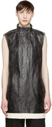 Rick Owens Black Coated Canvas Vest