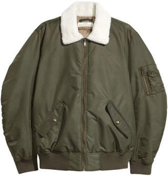 H&M Bomber Jacket with Pile Collar - Green