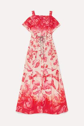 Peter Pilotto Cold-shoulder Tiered Floral-print Cotton Maxi Dress - Pink