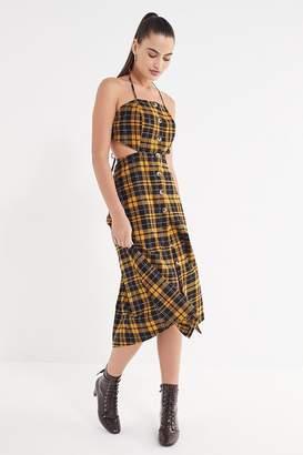 Urban Outfitters Halter Linen Button-Down Tie Dress