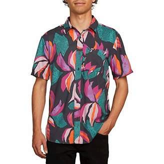 Volcom Men's Garden Floral Print Short Sleeve Button Up Shirt