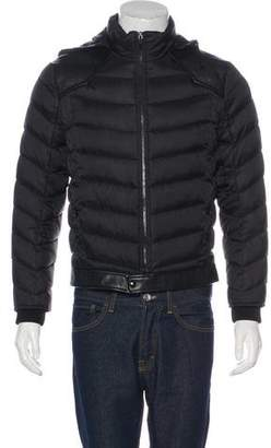 Saint Laurent Leather-Trimmed Quilted Down Jacket