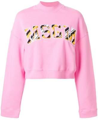 MSGM front logo cropped sweatshirt