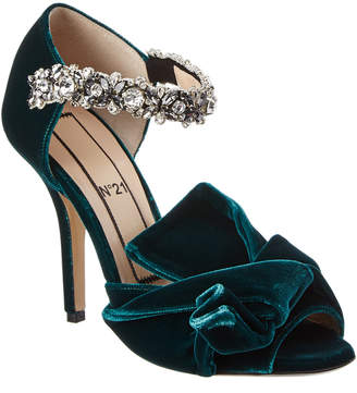 N°21 N21 Embroidered Velvet Bow Mule