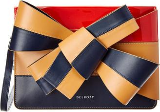 DELPOZO Large Bow Leather Clutch Crossbody