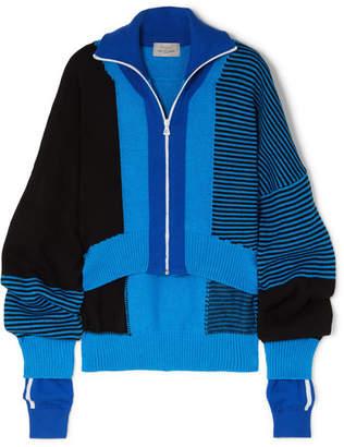 Preen by Thornton Bregazzi Gemma Asymmetric Paneled Intarsia Wool-blend Sweater - Blue