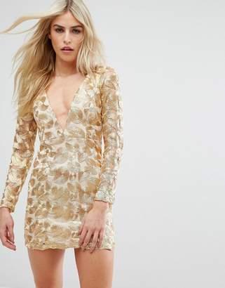 Love Triangle V Neck Mini Dress In All Over Metallic Lace