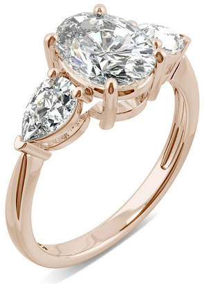 Charles & Colvard Moissanite Oval Three Stone Ring (3 ct. tw.) in 14k Rose Gold