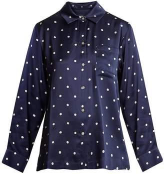 ASCENO Patch-pocket polka-dot silk pyjama shirt