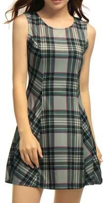 Allegra K Women Round Neck Sleeveless Plaids Mini A Line Dress