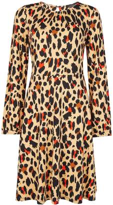Dorothy Perkins Womens Brown Animal Print Fit And Flare Dress