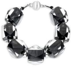 Gold and Honey Hexagon Rhodium-Plated & Lucite Beaded Bracelet