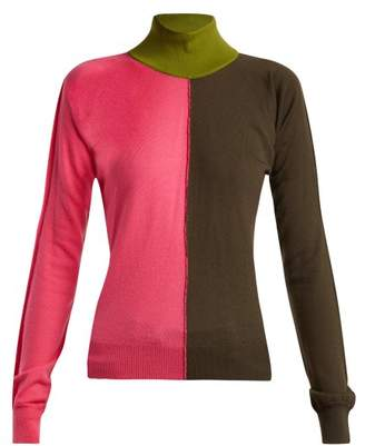 Marni Colour Block High Kneck Wool Blend Sweater - Womens - Pink Multi
