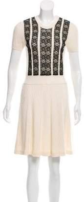 Valentino Lace-Accented Rib Knit Dress