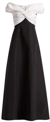 Carolina Herrera Off The Shoulder Gathered Silk Faille Gown - Womens - Black White