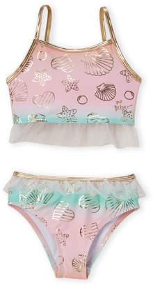 Betsey Johnson Girls 4-6x) Two-Piece Mermaid Foil Bikini