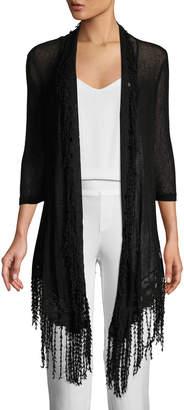 XCVI 3/4-Sleeve Frayed Cardigan
