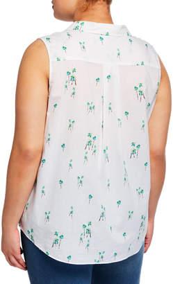 NYDJ Sleeveless Button-Down Palm Tree Blouse, Plus Size