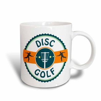3dRose Disc Golf - silhouette of putters throwing at a disc golf basket, Ceramic Mug, 15-ounce