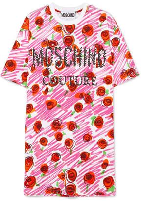 Moschino Printed Cotton-jersey Mini Dress - Pink