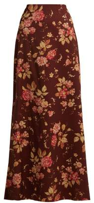 Zimmermann Unbridled Contour Floral Print Skirt - Womens - Burgundy Print