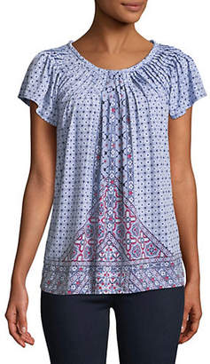 Style&Co. STYLE & CO. Petite Printed Pleat Neck Tee